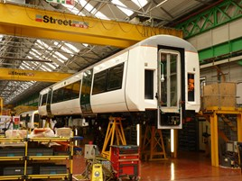A Class 387/1 under construction at Derby Litchurch Lane on May 15 2014. RICHARD CLINNICK.