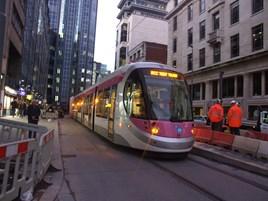 Midland Metro Tram 35 passes through Birmingham City Centre on December 1. MICHAEL BEVAN.