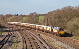 67021 and 67024 pass Clay Cross, Derbyshire with the returning London Victoria to Chesterfield excursion on April 18. ROBERT FALCONER.