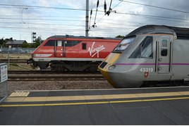 Virgin Trains East Coast 91126 and 43319 at Peterborough on July 26. RICHARD CLINNICK.