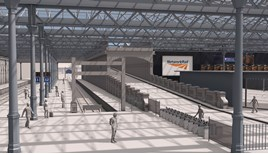 An artist's impression of the lengthened Platform 12 at Edinburgh Waverley. NETWORK RAIL.